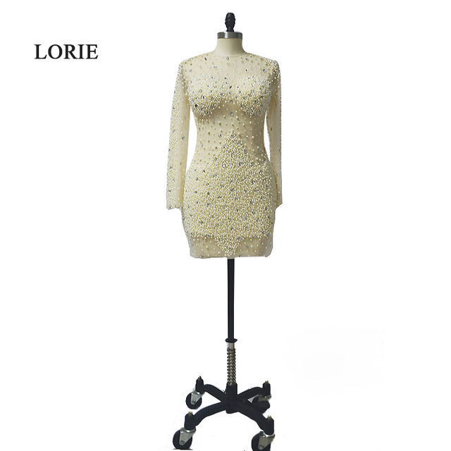 LORIE Luxury Evening Party Dress Beaded with Pearls O-Neck Champagne Long Sleeve Short Real Prom Dress vestido de festa curto