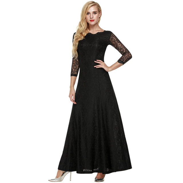 ANGVNS Party Long Dress Elegant Office Lady 2017 Summer Spring Sexy Vestidos 3/4 Sleeve Black Lace Dresses Women