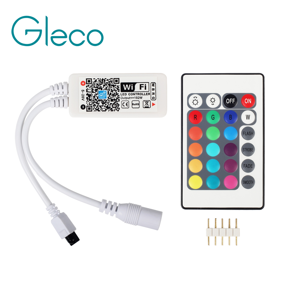 DC12V LED WIFI RGB controller / RGBW Controller with 24key remote IOS/Android Mobile Phone wireless for RGB / RGBW LED Strip mini wifi 01 smart wireless 3 ch wi fi ios android phone controlled rgb light strip controller