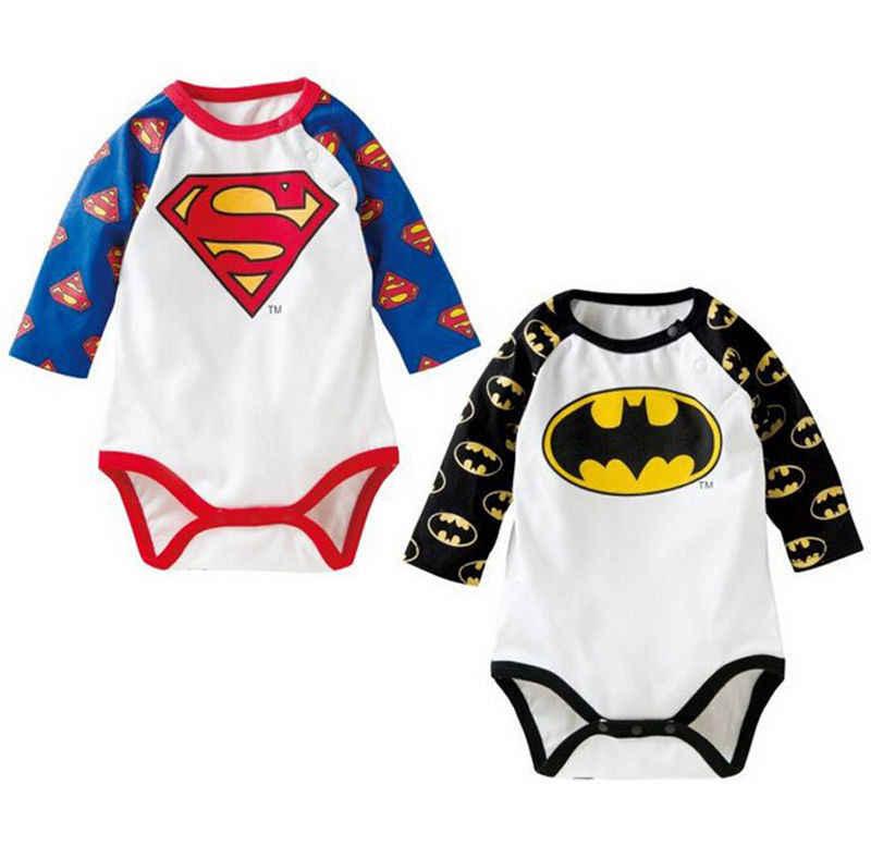 2018 хлопковый комбинезон для новорожденных мальчиков и девочек с изображением Бэтмена и бриллиантов; комбинезон с длинными рукавами; одежда с героями мультфильмов; SS