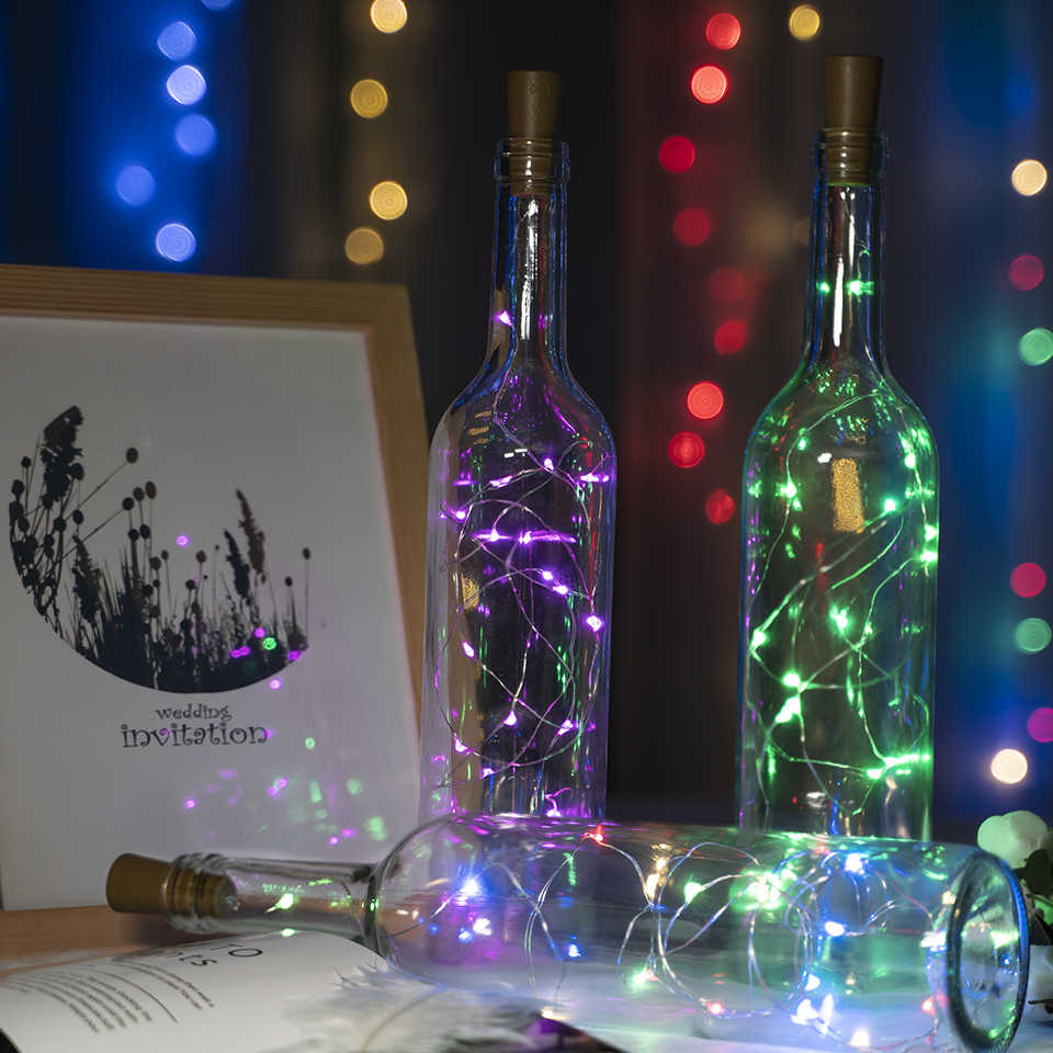 2M 20 LED Wine Bottle Lights Cork LED String Light Garland silver Wire Fairy Lights for Glass Craft Christmas Party Decoration
