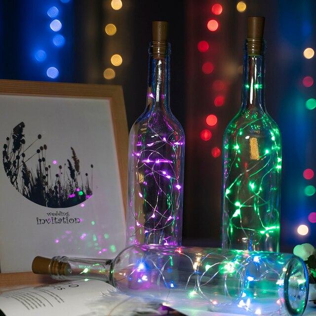 2 м 20 светодиодный светильники в форме винных бутылок пробковый светодиодный светящаяся гирлянда серебряная проволока сказочные огни для стекла ремесло Рождественская вечеринка украшение