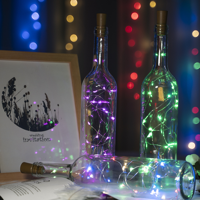 2M 20LED Cork Shaped LED String Light  Garland silver Wire Fairy Lights for Glass Craft Bottle Christmas Party Decoration