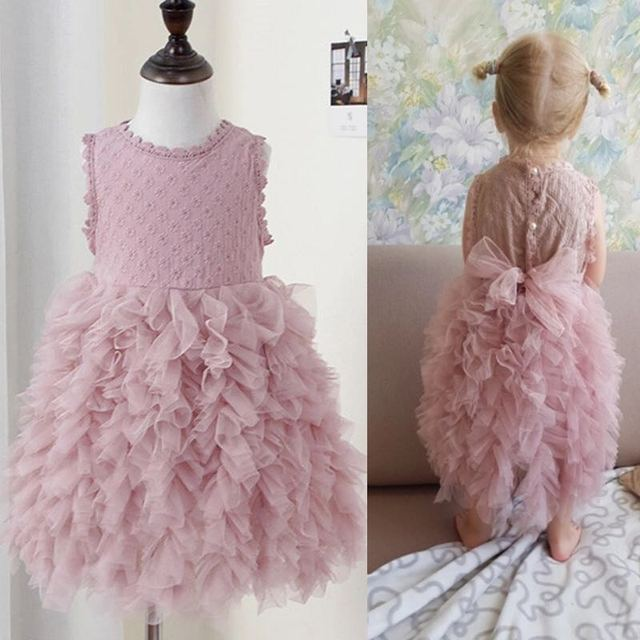 Girl's Cute Polyester Dress with Bowknot