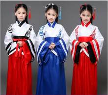 Children women dance costume Hanfu classical dance clothing Chinese ancient girl clothes stage performance period clothing(China)