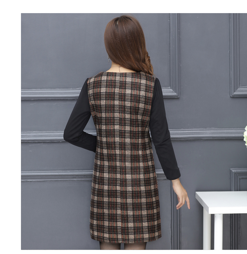 Winter Woman Elegant Tweed Dress Red Yellow Plaid Pattern Blends Robe Femme Thicken Fleece Dresses Woman Warm Shift Dress Office Outfits (13)