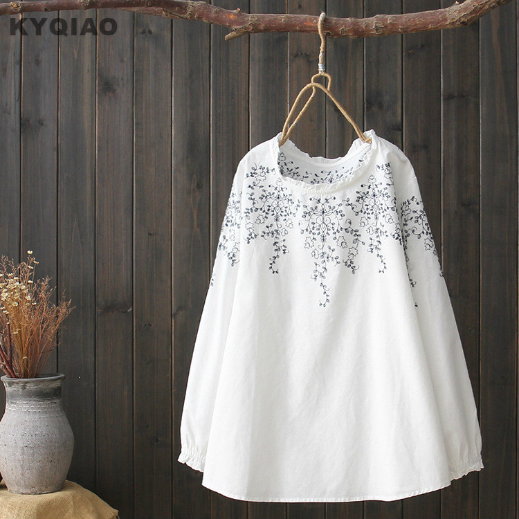 KYQIAO Bohemian white   blouse   women autumn spring Japan style ethnic long sleeve stand collar white embroidery   blouse     shirt   blusa