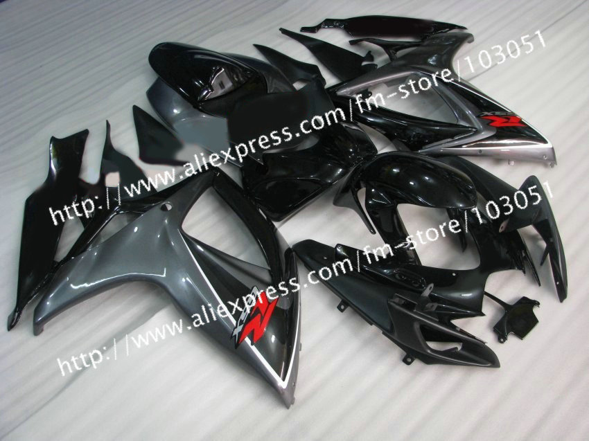 7 gifts injection molding for 2006 gsxr 600 fairing K6 2007 SUZUKI GSXR 750 fairings 06 07 glossy gray black De25 injection molding custom for 2005 suzuki gsxr 1000 fairings k5 2006 gsxr 1000 fairing 05 06 glossy black flat gray dw16