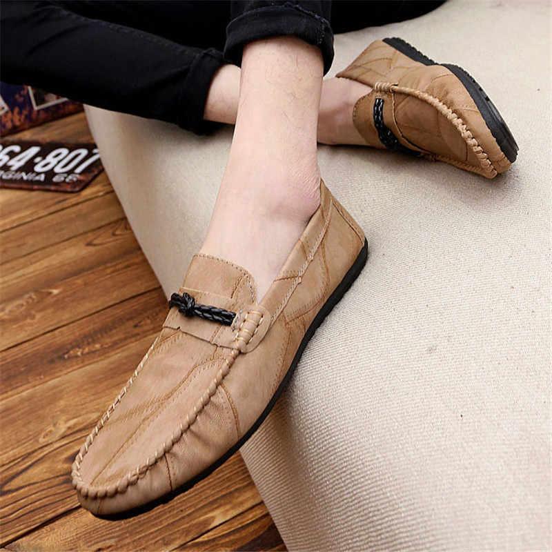 2019 pu de alta calidad zapatos de los hombres zapatos casuales zapatos de marca de lujo para hombre mocasines transpirables Slip negro zapatos de conducción zapatos de verano