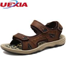 Summer Men Leather Gladiator Outdoor Sandals Men Shoes Fashion Hook & Loop Comfortable Leisure Shoes Men Beach Sandalias Hombre