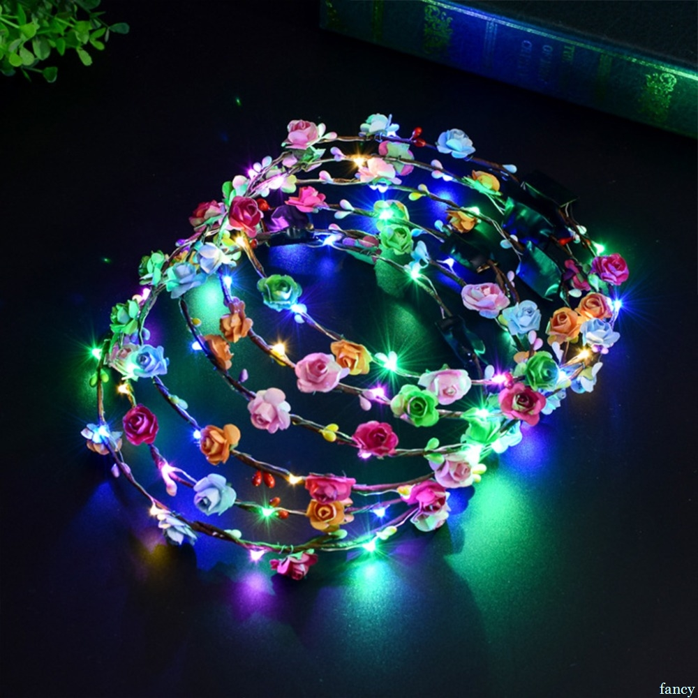 New Fashion New Novelty Led Flashing Flower Headband Hair Ornament Hairband Glowing Light Floral Wreath Children Girls Toys Christmas Party Girl's Hair Accessories