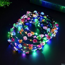 8 Color Novelty LED Light Up Flower Headband Flashing Glow Crown Party Hair Wreath For Women Girls Wedding Fashion(China)