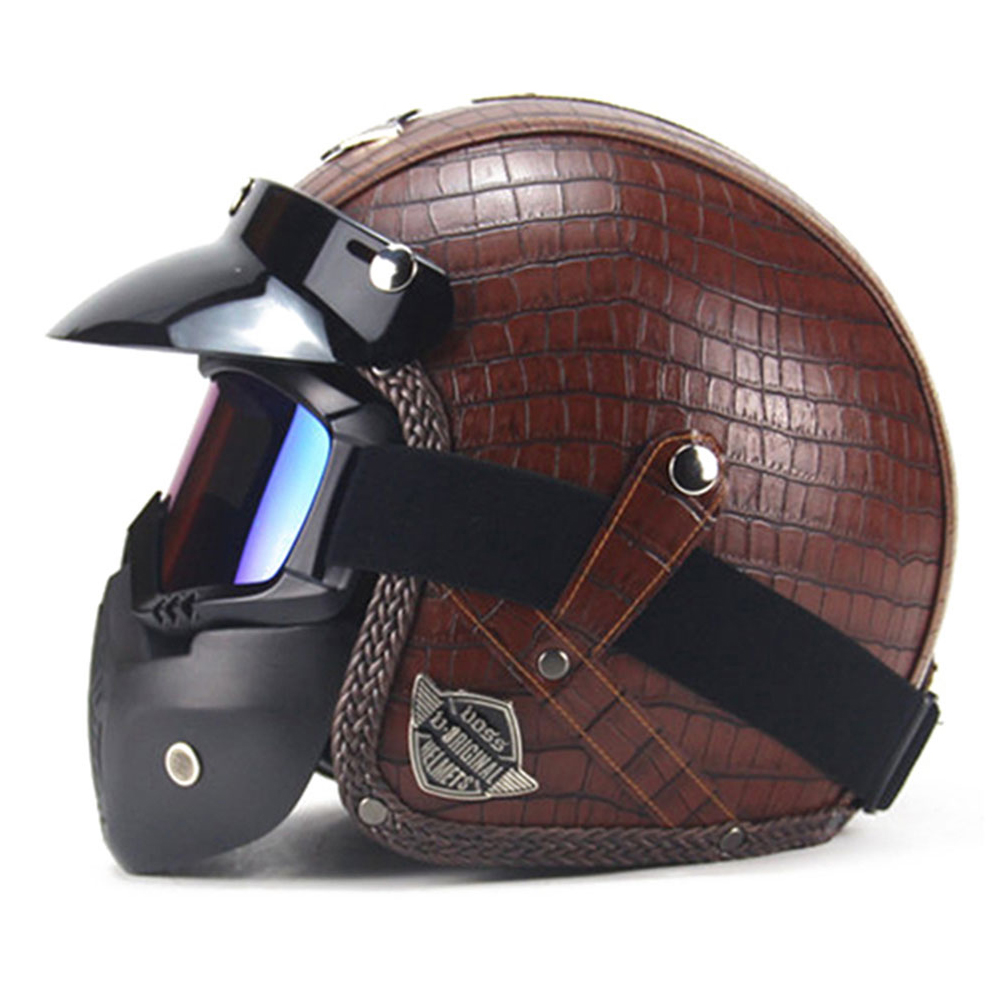 Motorcycle Helmet New Retro Vintage Synthetic Leather Open Face Motorbike Helmet Scooter Cruiser Chopper Casco Moto Helmet DOT new german vintage style motorcycle helmet cruiser scooter touring half helmet dot retro motorbike capacete casco moto helmet