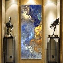 WANGART абстрактные цвета, нереальный холст, постер, синий пейзаж, настенная живопись, гостиная, Настенное подвесное современное искусство, принт, роспись