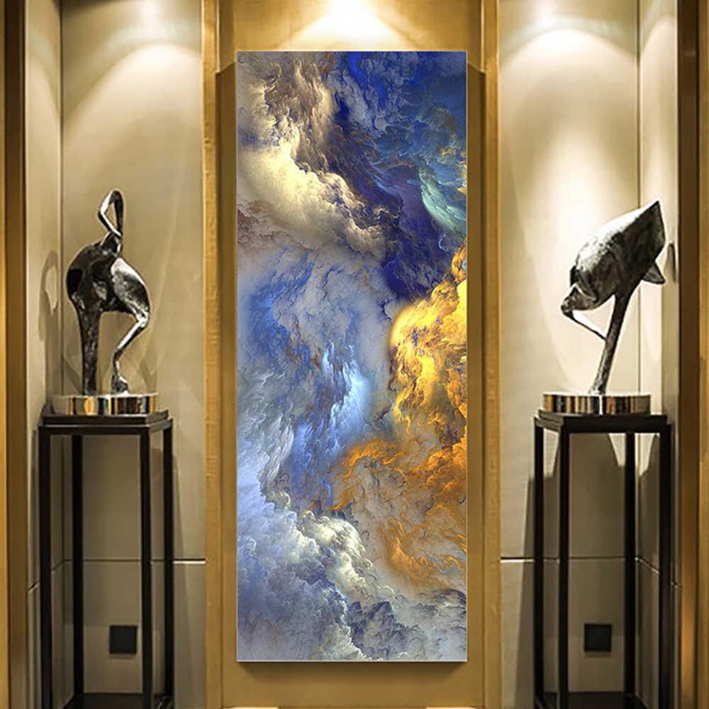 WANGART مجردة الألوان غير الحقيقي قماش المشارك الأزرق المشهد جدار الفن اللوحة غرفة المعيشة جدار معلق الفن الحديث طباعة رسمت