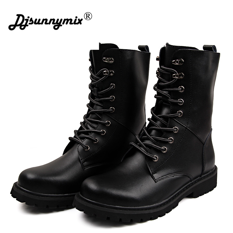DJSUNNYMIX New Autumn Winter Warm Boots Men Big size 38-48 British Style Genuine Leather Mid-calf Boots Martin Man shoes ...