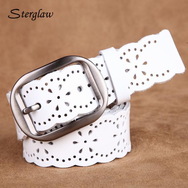 Vintage Hueco cinturón de cuero genuino para las mujeres cinture pelle uomo 2017 marca de lujo cinturones de cuero ocasionales femeninos vaqueros I012