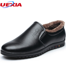 UEXIA New Autumn/Winder Formal Men Shoes Male Casual Winter Warm Oxford Leather Classic Elegant Office Business Dress Plush&Fur