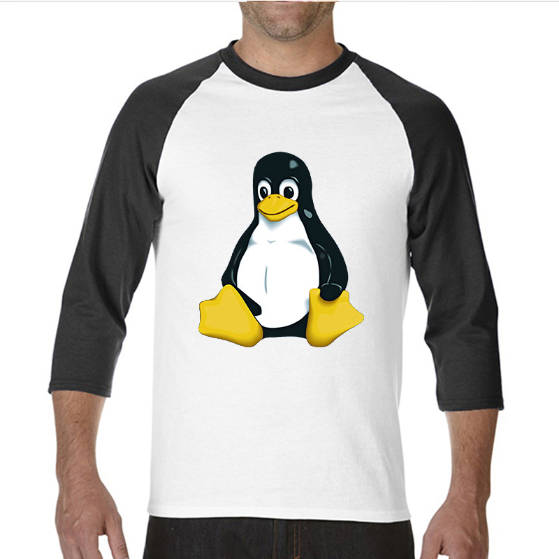 2017 Hot Selling Funny Black footed penguin LINUX funny raglan sleeve t shirt men