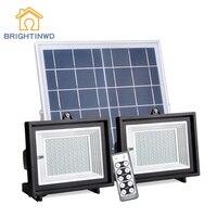 80/100 светодио дный Солнечный Прожектор Водонепроницаемый свет Управление + пульт Управление 2 лампы корпус уличного освещения IP65 светодио д