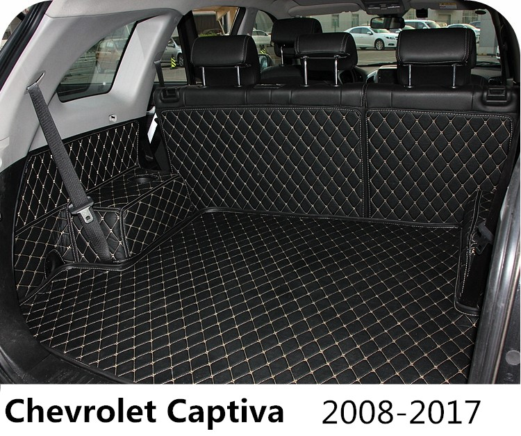Auto Cargo Liner Car Trunk Mats For Chevrolet Captiva 2008-2017 Surrounded by all Carpets High Quality Embroidery Leather Mats auto floor mats for honda cr v crv 2007 2011 foot carpets step mat high quality brand new embroidery leather mats