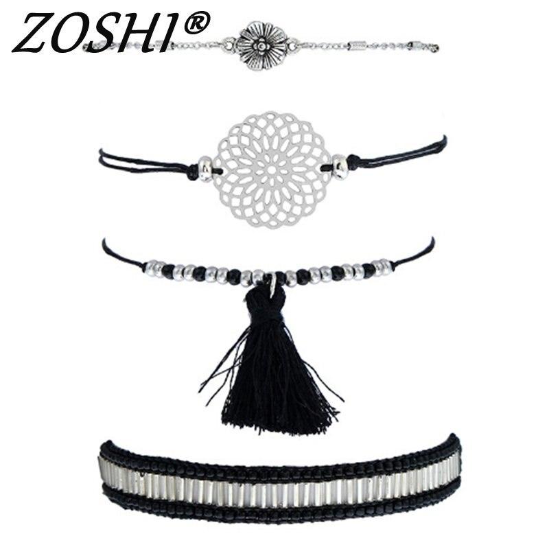 4pcs Woman Boho Multilayer Beads Charm Bracelets for Women Silver Flower Bracelets & Bangles Pulseras Ethnic Jewelry Charm Gift