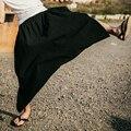 Мужская гарем свободные брюки девять минут брюки низкая промежность свернуть брюки юбка-брюки