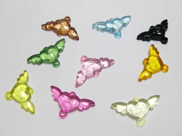 """200 יחידות 24X14 מ""""מ צבע אקריליק לב קסם כנף זבוב 2-חור דקורטיביים תכשיטי Connecter מלאכות אביזרי"""