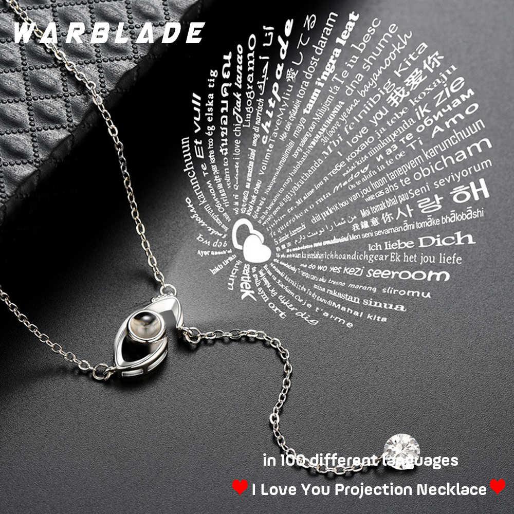100 langues je t'aime Projection pendentif collier femmes or argent mauvais oeil collier romantique amour mémoire collier de mariage