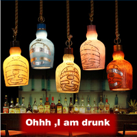 Bulb Freely American Retro Bar Environmental Resin Artificial Painting Small Beer Bottle pendant Lamp