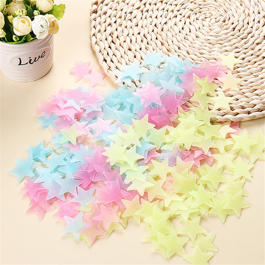 100Pcs/set Fluorescent Stars Glow In The Dark Toys For Children's Bedroom Decoration Baby Kids Glow Pentagram Adhesive Stickers