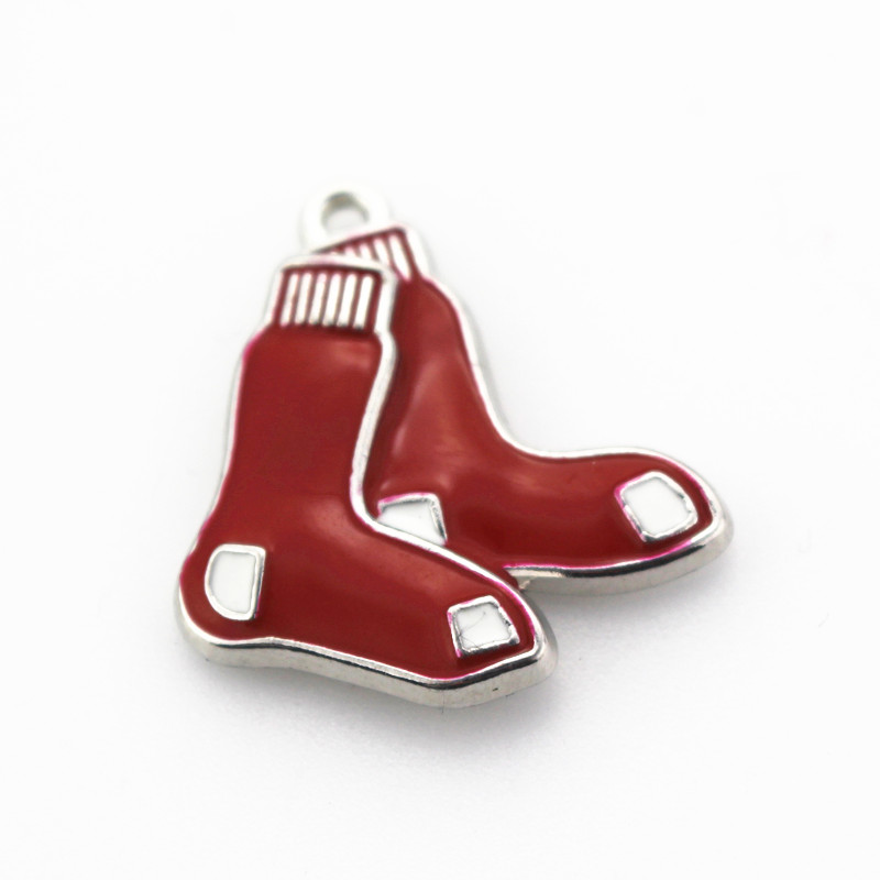 12pcs Enamel Silver Sports Pendant Boston Red Sox Baseball Team Dangle Charms For Bracelet Necklace Hanging Charms Jewelry