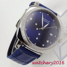 New 39mm parnis Blue Dial white diamond Sapphire Crystal Complete Calendar 21 jewels Miyota Automatic Mechancial Womens Watches