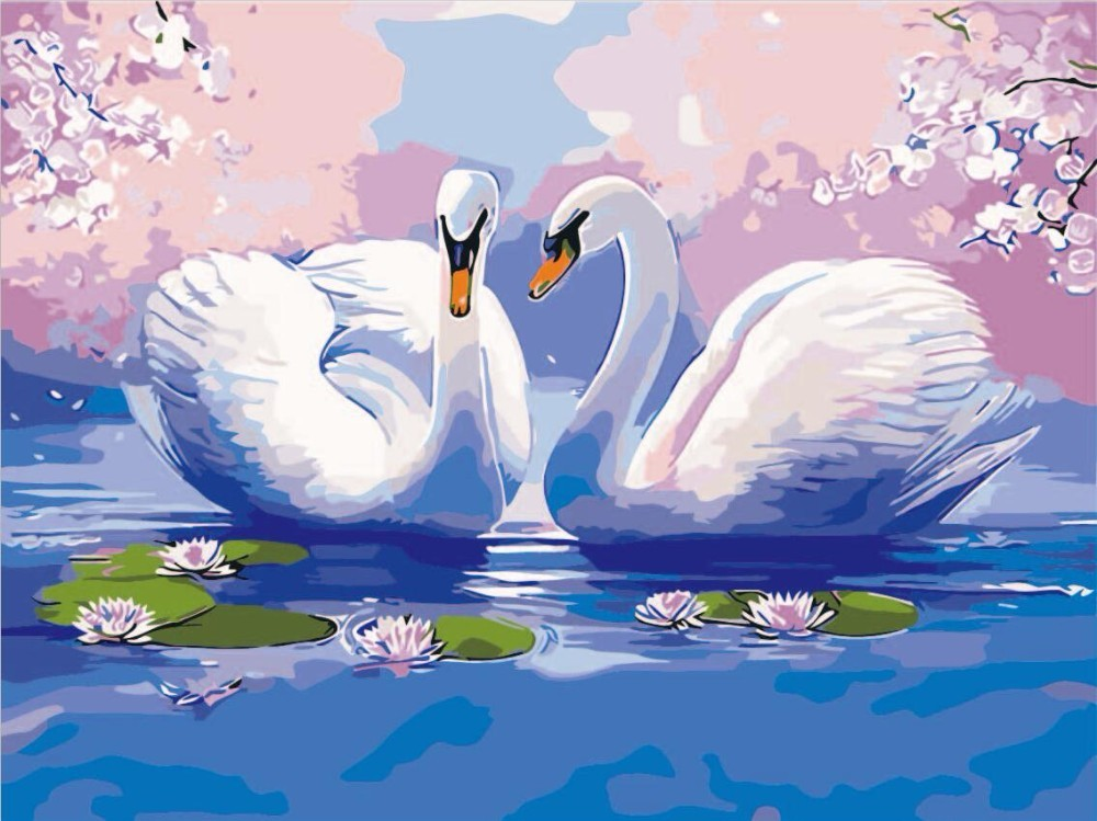 Oil Painting By Number Paint Swan DIY Canvas Home Decoration Hand Painted Animal