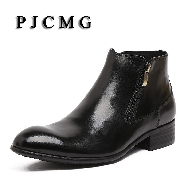 Nouveau Vintage hommes richelieu en cuir véritable bois Zip imperméable à l'eau en plein air haut outillage cheville robe bottes chaussures