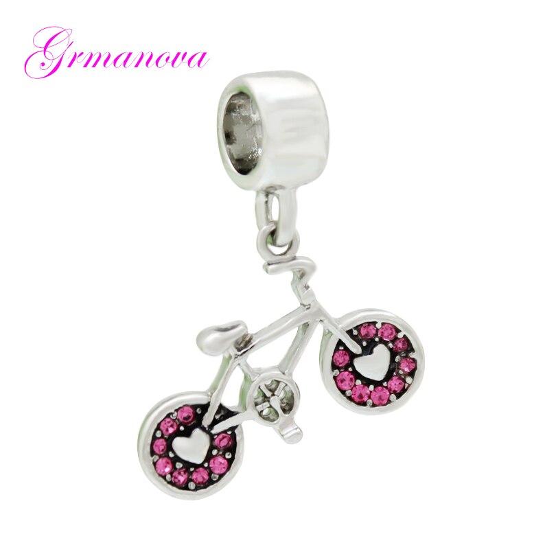 Colgante rosa de diamantes de imitación para bicicleta, abalorios DIY hechos a mano, amuleto Ornamental adecuado para collar de pulsera Pandora