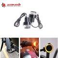 Alconstar-2Pcs 12В мотоциклетный руль со светодиодным поворотным сигналом  янтарная мотоциклетная ручка  ручка  вилка  боковой габаритный фонарь д...