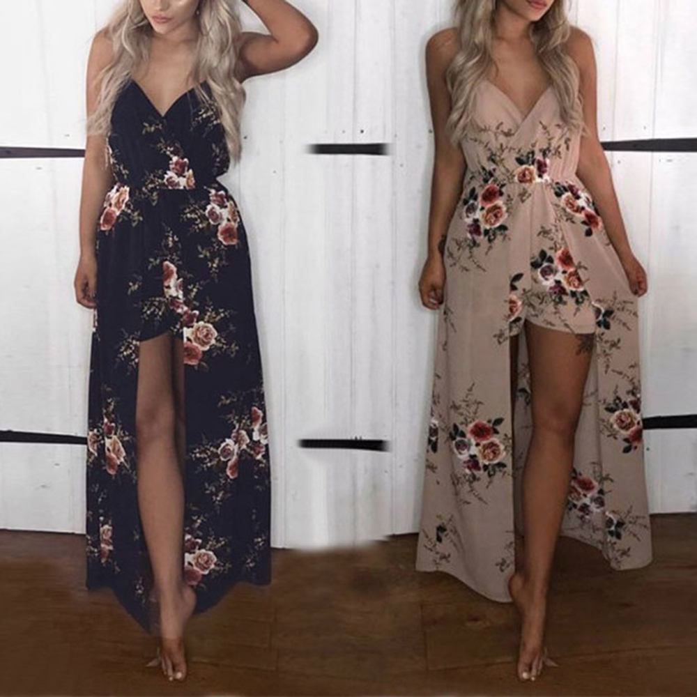 Women Summer   Jumpsuit   Bohemia Spaghetti Strap Floral Print Chiffon Playsuit Elegant V Neck Backless Beach Female