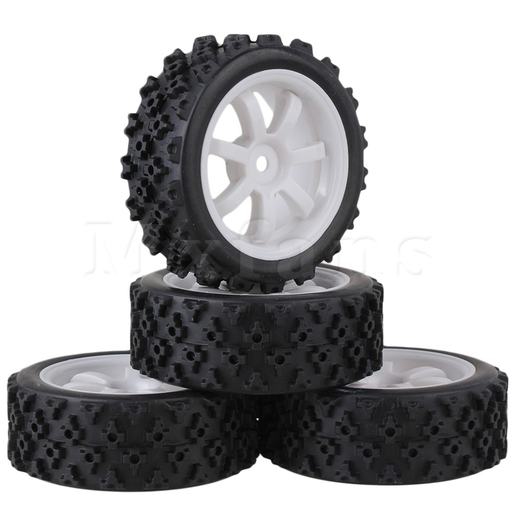 Mxfans 4 x RC 1:10 On Road Car Plastic 7 Spoke Wheel Rim + Flower Rubber Tyre Mxfans children sports suit 2017 winter tracksuit kids teenage girls clothes two piece set children clothing school girl outfit 6 year
