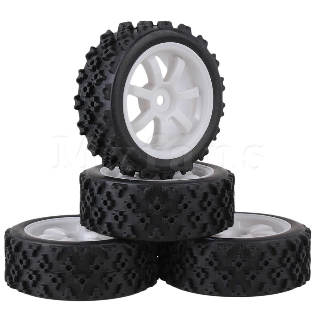 Mxfans 4 x RC 1:10 On Road Car Plastic 7 Spoke Wheel Rim + Flower Rubber Tyre Mxfans домашний спортивный комплекс детский спорт городок г образный стойка с сеткой 100 см