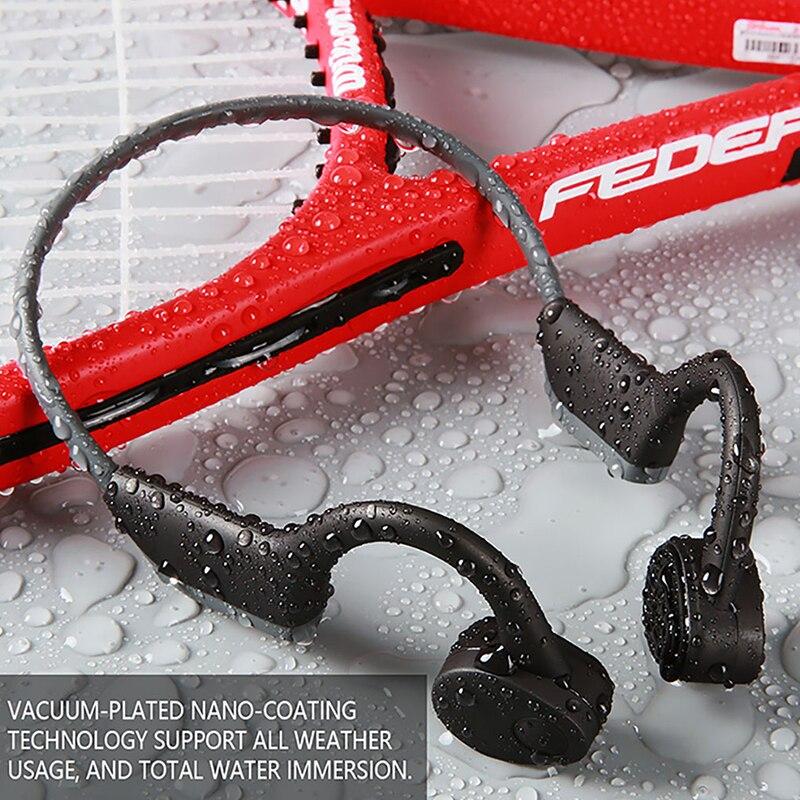 OKCSC écouteurs à Conduction osseuse Bluetooth 5.0 casque sans fil IP56 casque de Sport extérieur étanche avec Microphone mains libres