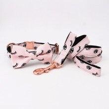 Розовая собака розовое золото металлический воротник девушка собака ресницы шаблон лук воротник Свадьба собака воротник