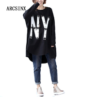 ARCSINX Oversized Women Long T Shirts 4XL 5XL 6XL 7XL 8XL 9XL 2017 Long Sleeve Print