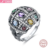Jrose Vintage Jewelry Cocktail Party Amethsyt Multi Color Rings 100 925 Sterling Silver Ring Luxury For
