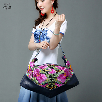 XIYUAN BRAND Chinese Style Women Handbag Embroidery Ethnic Summer Fashion Handmade Flowers Ladies spring Tote Shoulder hand Bags chinese style genuine leather bag women handbag embroidery ethnic summer fashion handmade flowers ladies tote shoulder hand bags