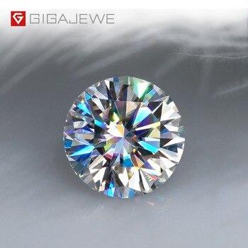 Gigajewe real d cor 1-3ct redondo moissanite qualidade superior teste de diamante solto passou gem diy para fazer jóias 1