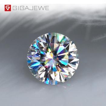 GIGAJEWE D kolor 1-3ct VVS1 okrągły Moissanite luźny diament Test przeszedł najwyższej jakości z certyfikatem laboratorium klejnot do tworzenia biżuterii tanie i dobre opinie 1 0ct-3 0ct 6 5mm-14 0mm Okrągły kształt GM-RWD Koraliki Brak Grzywny