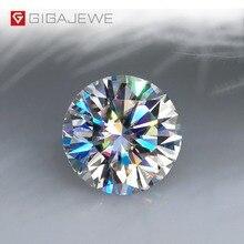 GIGAJEWE D renk 1 3ct VVS1 yuvarlak Moissanite gevşek elmas Test Passed en kaliteli sertifika ile Lab Gem takı yapımı için