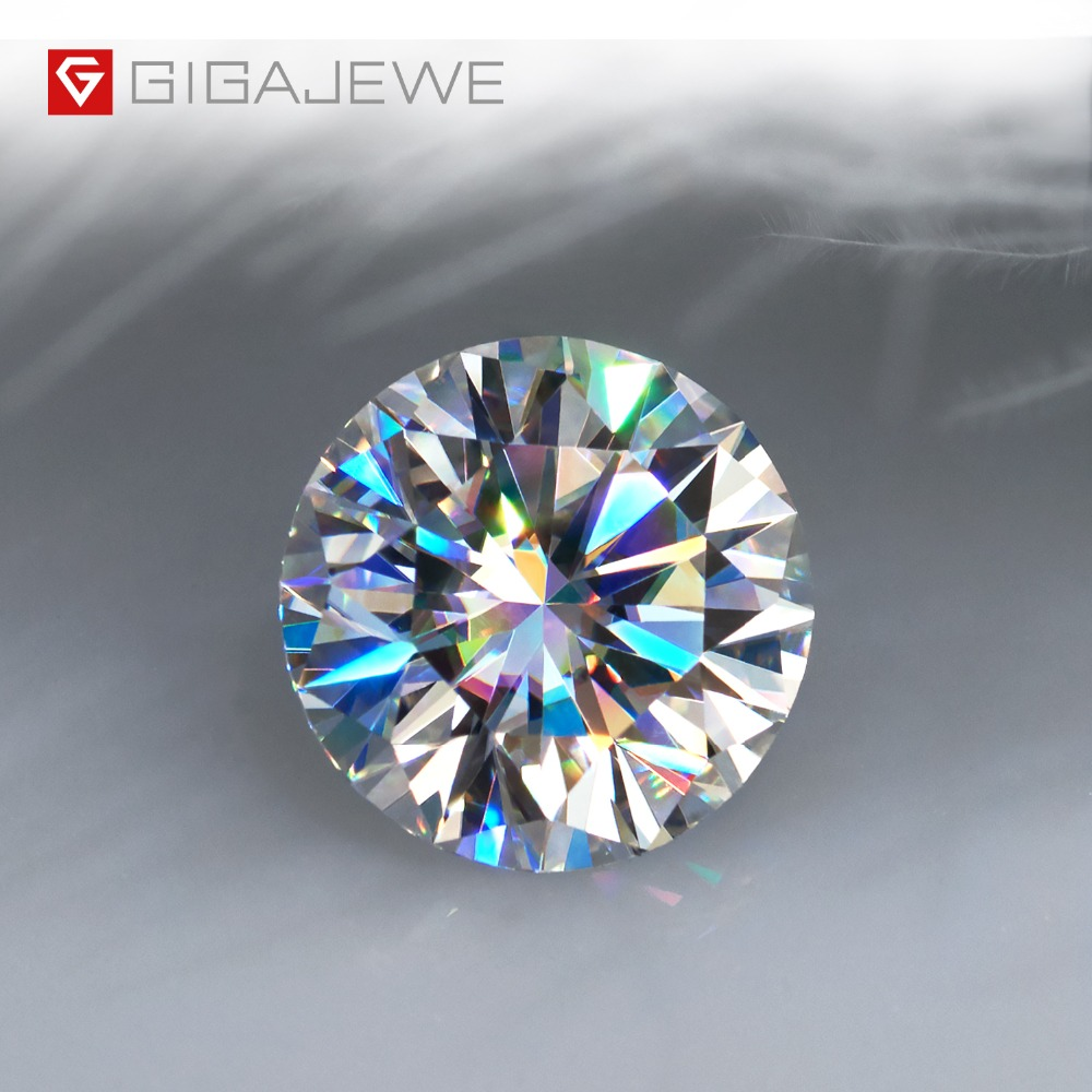GIGAJEWE Real D Color 1-3ct Round Moissanite Top Quality Loose Diamond Test Passed Gem DIY For Jewelry Making