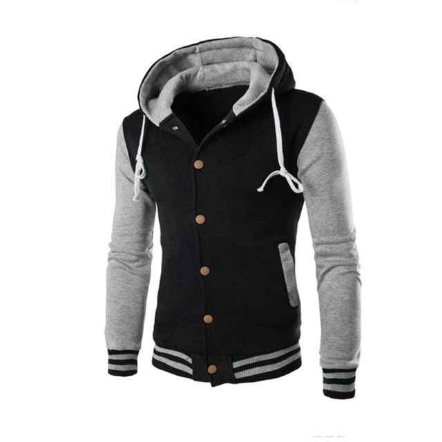 New Hooded Baseball Jacket Men 2016 Slim Hoodie Warm Mens Slim Fit ...